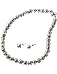 まつよ 花珠貝パール 差込式留め具 10mm 45cm グレー 灰真珠 ピアスセット 日本製 保証書付 パールネックレス