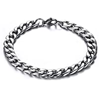 TTVOVO Mens Stainless Steel Bracelet, Curb Cuban Chain Link Bracelet, Men's Masculine Motorcycle Biker Bracelet, Masculine ID Identification Bracelet - Various Styles