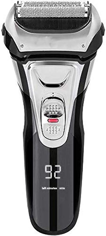 ヘリコプターバージンニュース電気シェーバー メンズ シェーバー 往復式 3枚刃 髭剃り 電動 カミソリ LEDディスプレイ USB充電式 IPX7防水 水洗い/お風呂剃り対応