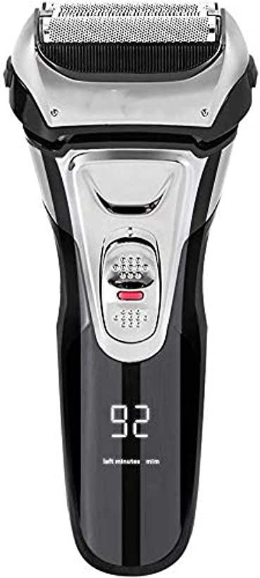 特許倫理的支配する電気シェーバー メンズ シェーバー 往復式 3枚刃 髭剃り 電動 カミソリ LEDディスプレイ USB充電式 IPX7防水 水洗い/お風呂剃り対応