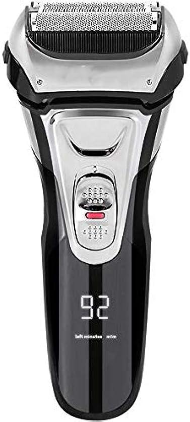 宗教的なウィスキーマイコン電気シェーバー メンズ シェーバー 往復式 3枚刃 髭剃り 電動 カミソリ LEDディスプレイ USB充電式 IPX7防水 水洗い/お風呂剃り対応
