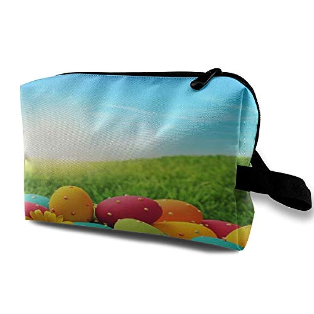 逮捕合法ブレースColorful Eggs On Green Grass Happy Easter 収納ポーチ 化粧ポーチ 大容量 軽量 耐久性 ハンドル付持ち運び便利。入れ 自宅?出張?旅行?アウトドア撮影などに対応。メンズ レディース トラベルグッズ