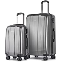 Wanderlite 2 Piece Lightweight Hard Suit Case Luggage Grey