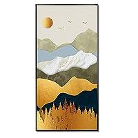 壁飾り塗装 リビングルームの家の装飾壁画自然景観のためのキャンバス風景画のゲーブル写真 リビングルームの装飾画 (色 : ブラック, サイズ : 40x80cm)