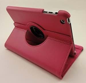 【ノーブランド品】iPad mini 専用 スタンド機能付 360度回転式 レザーケース (ローズ)