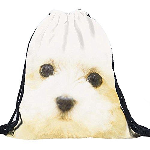 (560kick) マルチーズ 顔 ドアップ 柄 巾着 袋 リュック レッスン バッグ おけいこ