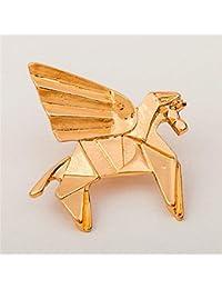 ピンズ ピンバッジ ブローチ アニマル 動物 折紙 折り紙 (金 (ゴールド) ペガサス)