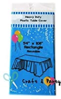 (12-pack) Heavy Duty Plastic Table Covers Tablecloth (Reusable) (Rectangle 140cm X 270cm, Turquoise)