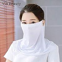 HITSAN INCORPORATION Masks Ice Silk Face Mask Sun Protection Mask Thin Uv Protection Face Mask Scarf Breathable Warm Elastic Dust Proof white