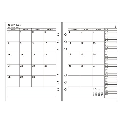 能率 バインデックス 手帳 リフィル 2018年 1月始まり マンスリー ダブルスケジュール型 日曜始まり A5-055