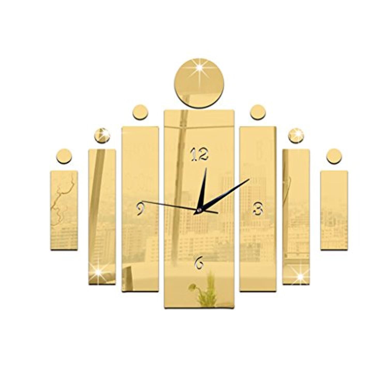ホーム&時計 モダンなデザインの3D DIYアクリルプラスチックミラビッグステッカーの壁時計の時計ホームインテリアリビングルームの装飾の壁時計 ( 色 : ゴールド )