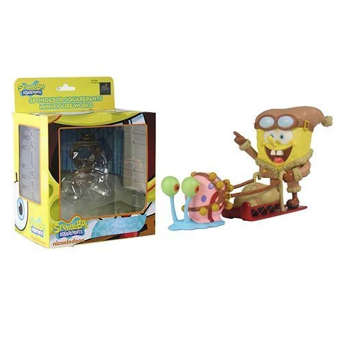 SpongeBob SquarePants SpongeBob Sledding with Gary Mini-Figure World Series 4 Mini-Figure by Play Imaginative [병행수입품]-