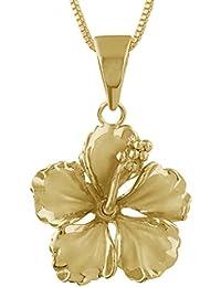 [ハワイアン シルバー ジュエリー] Hawaiian Silver Jewelry イエローハイビスカス ネックレス イエローゴールド トーン シルバー925 [インポート]