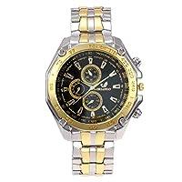 XuBa 腕時計 メンズ 石英合金の腕時計 ステンレス鋼のストラップ ビジネススポーツの腕時計 ファッショナブルな ゴールデンブラックゴールドリング