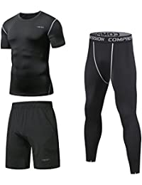 Niksa コンプレッションウェア メンズ スポーツ ウェア 長袖/半袖 吸汗 速乾 加圧 保護 高弾力 防臭 姿勢矯正 ラウンドネック 3点セット/4点 セット 4色