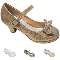 Gwen & Zoe Girl Dress Shoes for Weddings, Christmas, Holiday Parties - Big and Little Girl 2 Inch High Heel with Sparkle and Strap for First Communion, Flower Girl