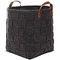 デイジーハンパー収納バスケット人気の人気のフェルト布手織りファブリックのデブリの収納バスケット ZHANGQIANG (色 : Dark-gray, サイズ さいず : 31cm*29cm)