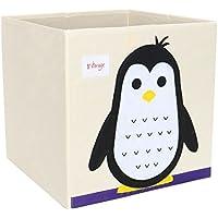 Piccocasa折りたたみ式おもちゃストレージビンSquare Cartoon Animalキャンバスストレージボックス環境に優しいファブリックストレージキューブオーガナイザーの寝室、プレイルーム、ペンギンno蓋13