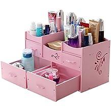 Storage Box - Dressing Table Cosmetics Finishing Box Home Desktop DIY Skin Care Shelf Waterproof (Color : Pink)