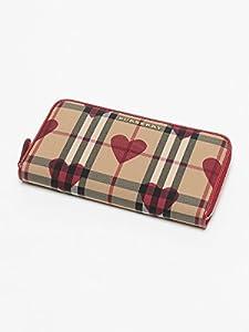 (バーバリー) BURBERRY ロゴプレート バーバリーチェック ハート柄 ラウンドジップ 長財布 [【BB3996682】] レッド / - [並行輸入品]