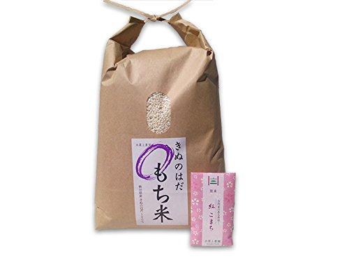 【もち米】秋田県産 農家直送 きぬのはだ 10�s(5kg×2袋) 令和元年産 / 古代米(赤米or黒米)お試し袋付き