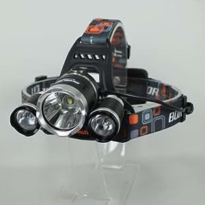 【超強烈光】 CREE XM-L T6 ×3 LED 充電式 ハイパワーヘッドライト 【3000LM】 【リチウムイオン充電池18650付き】 【生活防水仕様】 【並行輸入】