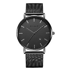 腕時計 超薄型 軽量 亜鉛合金ケース ステンレス製のブレスレット 30M防水 日付表示 男女兼用 ブラック…