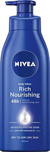 NIVEA Rich Nourishing Moisturising Body Lotion & Moisturiser with Intensive Moisture Serum & Almond Oil for Dry to Very Dry