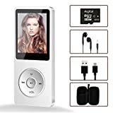 Portable MP3 Player, Aigital Mini Music Player with 32GB TF Card and Earphones, Expend Memory to 128GB, Multi-Functional and Economic MP3 with Video/FM Radio/E-Book/Record Function - Elegant White