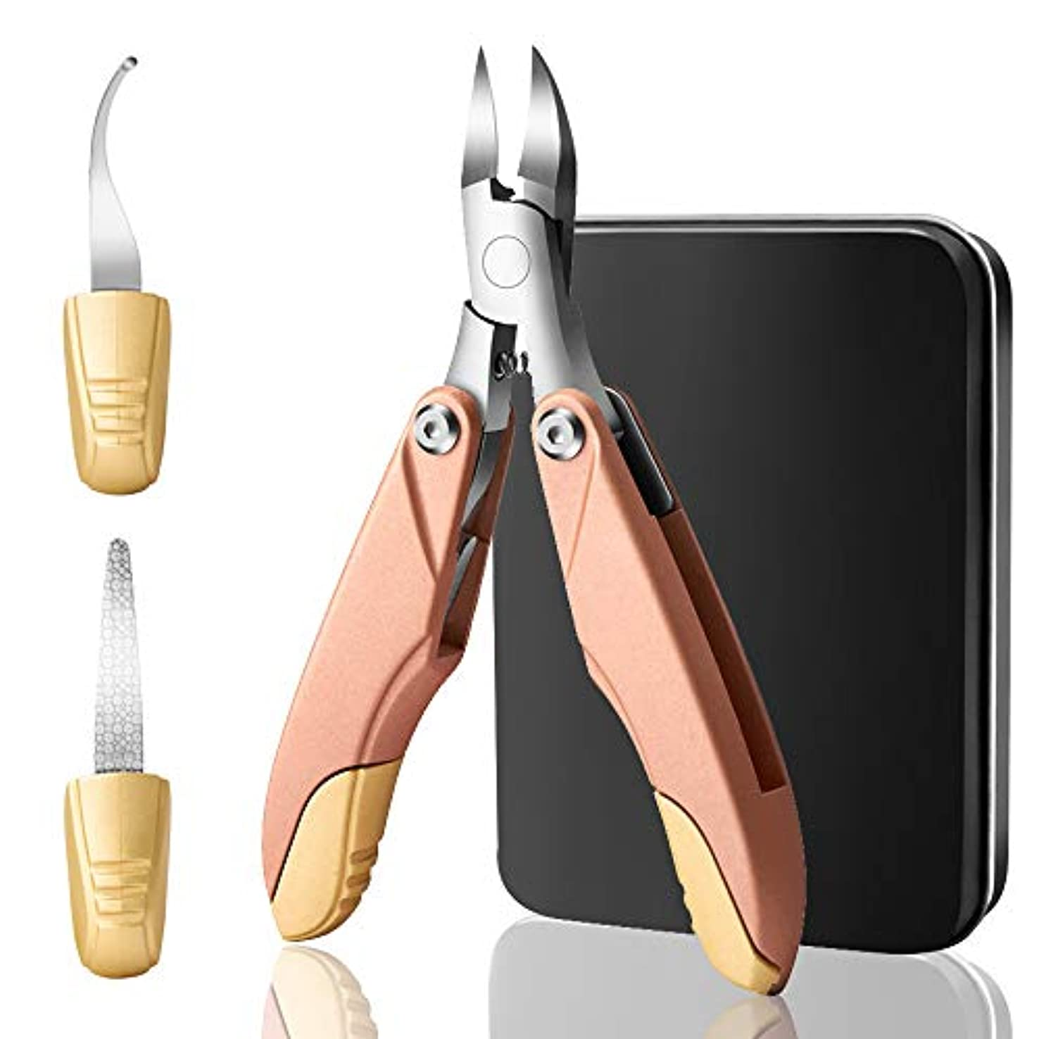 行商はちみつ類似性YunTech 爪切り3in1 ニッパー爪切り ステンレス製 折り畳み式 巻き爪 硬い爪などにも対応 ゾンデ/爪やすり付き 手足兼用 収納ケース付き (ローズゴールド)
