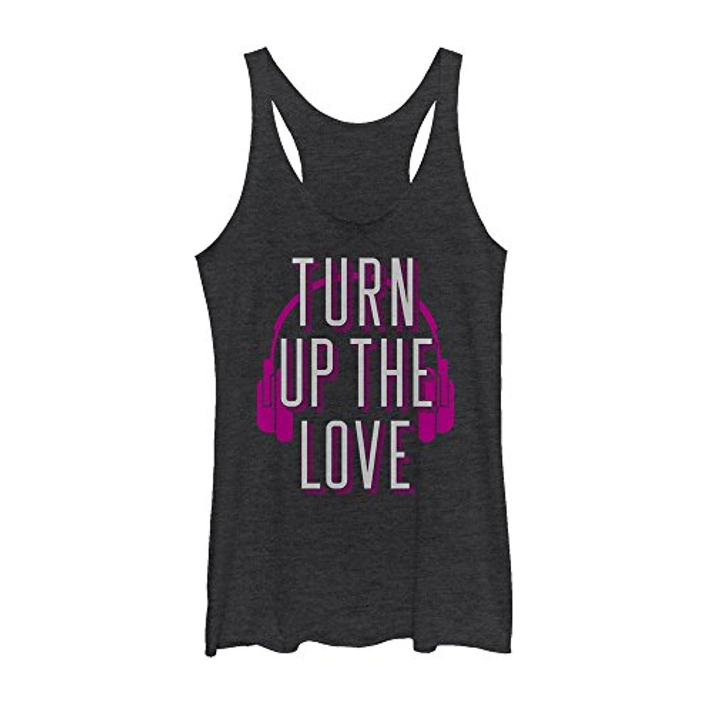 つかまえる贅沢放つChin Up Turn Up the Loveレディースグラフィックレーサーバックタンク
