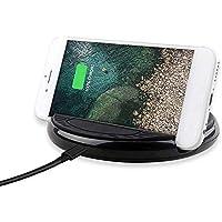 iBaste ワイヤレス充電器 車 急速携帯電話充電器 急速充電 ブラケット付く超薄型 折りたたみ式 軽量 置くだけ充電 丸い形 iphone 8,8 plus,X/Samsung Galaxy S8 / S8 Edge / S7 / S7 Edge / S6 / S6 Edge対応 黒