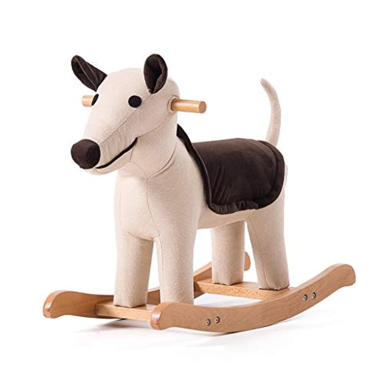 木馬?ロッキング 子供のロッキングホースソリッドウッドアニマルスツールベビー漫画フットスツールおもちゃのトロイの木馬かわいいロッキングチェア小さなベンチ