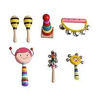 Yibuy 7個セット 多色 木製 子供 打楽器 キット バッグ付き 幼児 パーカッション バッグ付き 教育楽器 女の子のセット