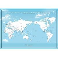 国名と首都が分かる 大きな世界地図ポスター / 空色 / ミニマルマップ (英語・かな, A1サイズ)