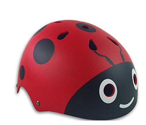 KUNFUN 子供用 軽量 ヘルメット 調節可能 キッズ サイクリング 自転車 スケート びっくり 軽い ヘルメット 幼児 キッズ 子供 小学生 3-12歳の子供 (赤, S(頭囲:48-53cm))