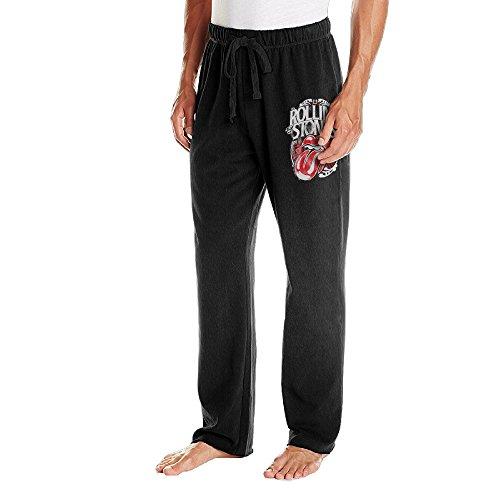成人 クール スウェットパンツ ローリング ストーンズ イギリス ロックバンド ロゴ スポーツ パンツ Black
