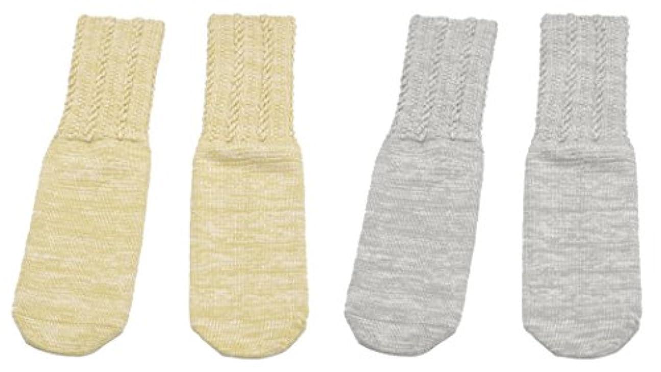 レプリカ熟考する雲日本製 口ゴムのゆるい靴下 2色組(ベージュ?グレー) FIN-445