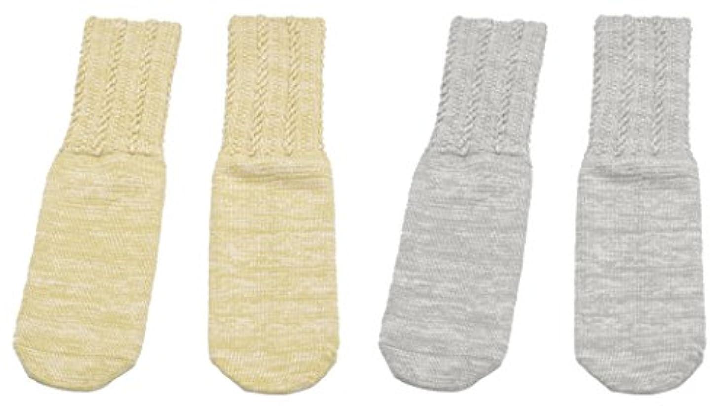 独立知覚的ワイヤー日本製 口ゴムのゆるい靴下 2色組(ベージュ?グレー) FIN-445