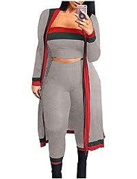Romancly 女性レギンスコントラストストライプボディコンセクシー3ピース衣装