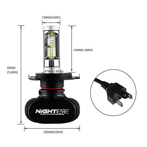 「NIGHTEYE正規品」 車検対応 LEDヘッドライトH4/9003/HB2 Hi/Lo切り替えタイプ50W (25W x2) 8000LM (4000LM x2) 6500k 一体式 超高輝度CSPチップ搭載 3年間保証付き 2本セット