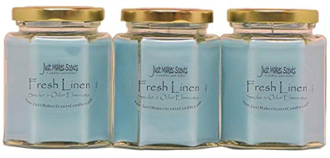 拒絶嵐が丘ハングJust Makes Scents キャンドル&ギフトスモークペアレント Fresh Linen - 3 PACK