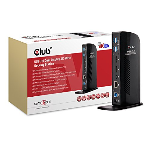Club3D SenseVision USB 3.0 Dual Display 4K 60Hz Docking Station ドッキング ステーション (CSV-1460)