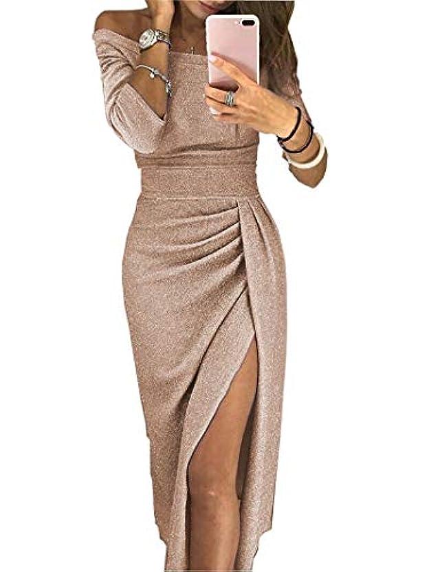 びっくりしたプレビスサイトゴルフMaxcrestas - 夏の女性のドレスはネックパッケージヒップスプリットセクシーなスパンコールのドレスレディース包帯パーティーナイトクラブミッドカーフ服装スラッシュ