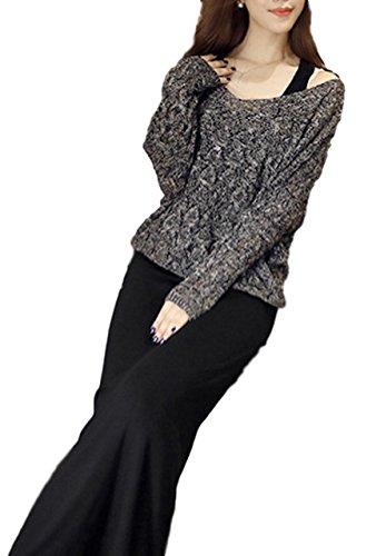 [해외](시 믿어요) SeBeliev 2 종 세트 맥시 원피스 캐미 롱 니트 슬리브 스웨터 드레스 긴 소매 품위/(Sea Believe) SeBeliev 2 Piece Maxi One Piece Cami Long Knit Sleeve Sweater Dress Long Sleeve Elegant