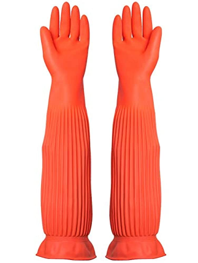 バンドサバント騒乱ニトリルゴム手袋 労働保険手袋長い防水ゴム厚の耐摩耗性ゴム手袋、1ペア 使い捨て手袋 (Color : ORANGE, Size : M)