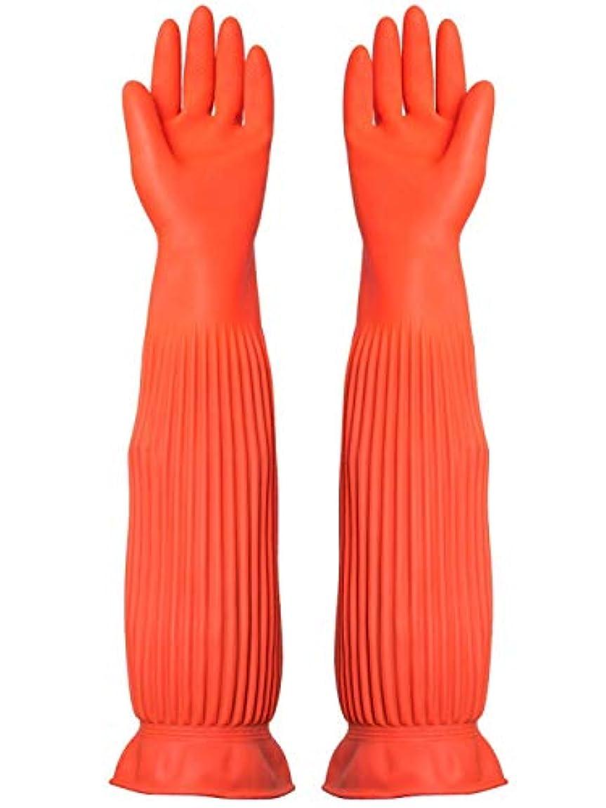 バックアップ強打強調するBTXXYJP キッチン用手袋 手袋 耐摩耗 食器洗い 作業 炊事 食器洗い 掃除 園芸 洗車 防水 防油 手袋 (Color : ORANGE, Size : M)