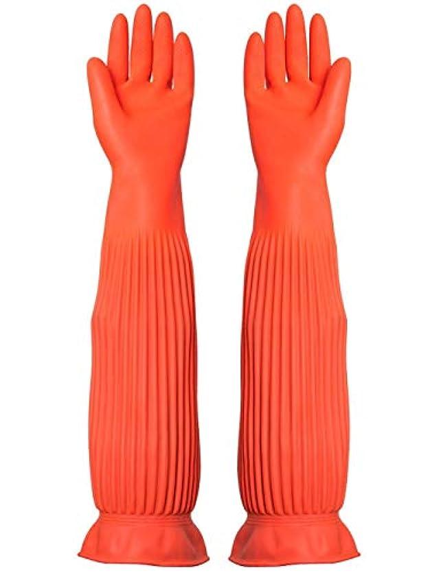 ダウンタウン彫刻家かもしれないBTXXYJP キッチン用手袋 手袋 耐摩耗 食器洗い 作業 炊事 食器洗い 掃除 園芸 洗車 防水 防油 手袋 (Color : ORANGE, Size : M)