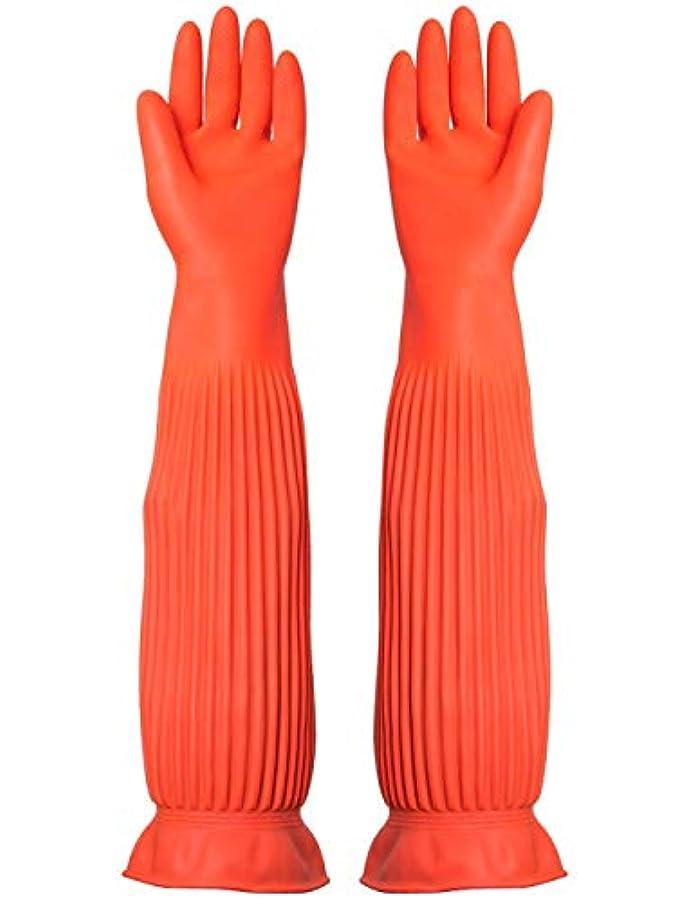 BTXXYJP キッチン用手袋 手袋 耐摩耗 食器洗い 作業 炊事 食器洗い 掃除 園芸 洗車 防水 防油 手袋 (Color : ORANGE, Size : M)