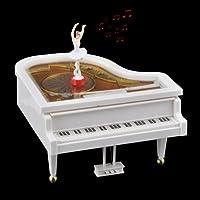 pinnacle- Mechanicalピアノ音楽ボックスwith DancingバレリーナGreatギフト、ホワイト&ゴールド